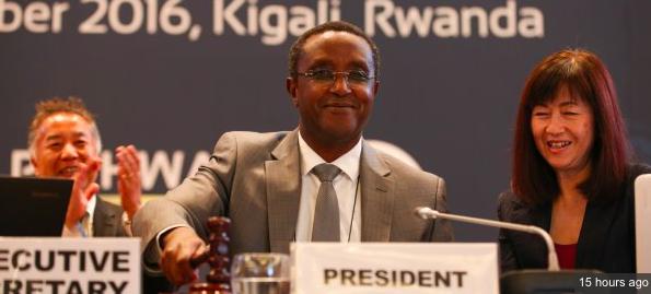 Negociadores del Acuerdo de Kigali rodean al Ministro Rwandés. Romina Picolotti, de CEDHA/IGSD a su lado.
